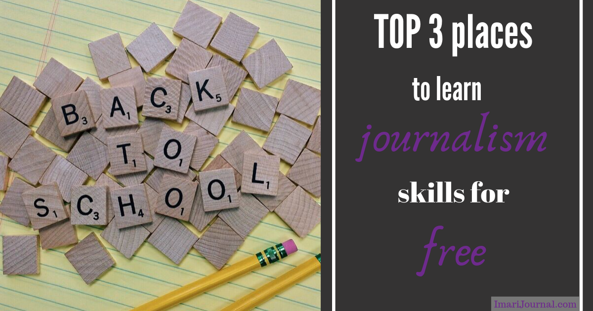 "Scrabble letters read, 'Back to school.' Nearby text says, ""Top 3 places to learn journalism skills for free."""
