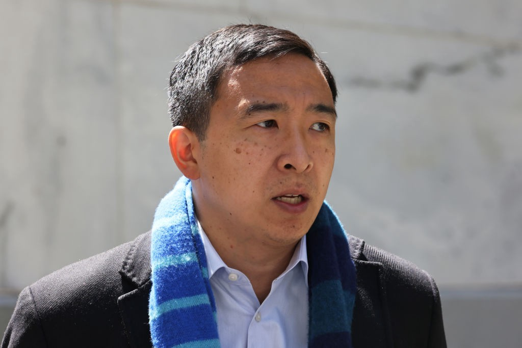 source: Getty Images // Close-up picture of Andrew Yang standing outside