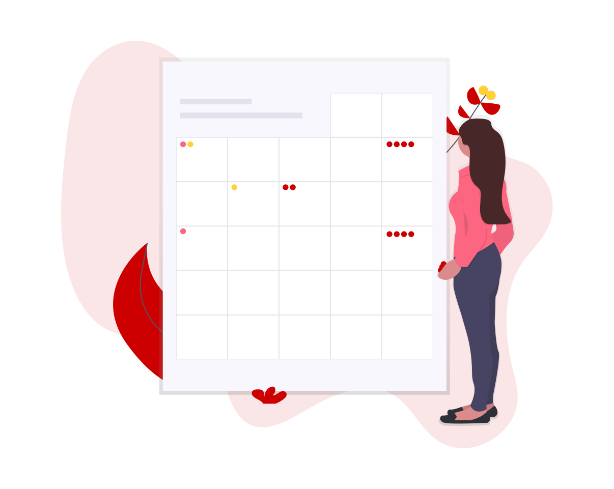 Person standing in front of an life size calendar, checking out events coming up, represented by circles in the calendar squares