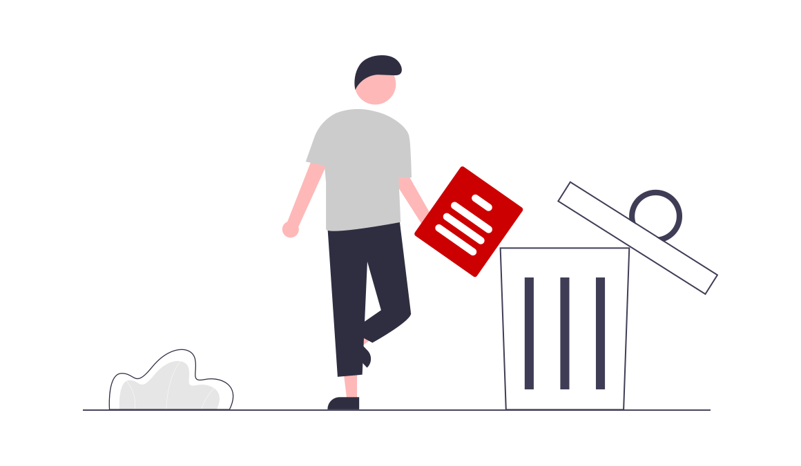 Person throwing away a document into a trash can