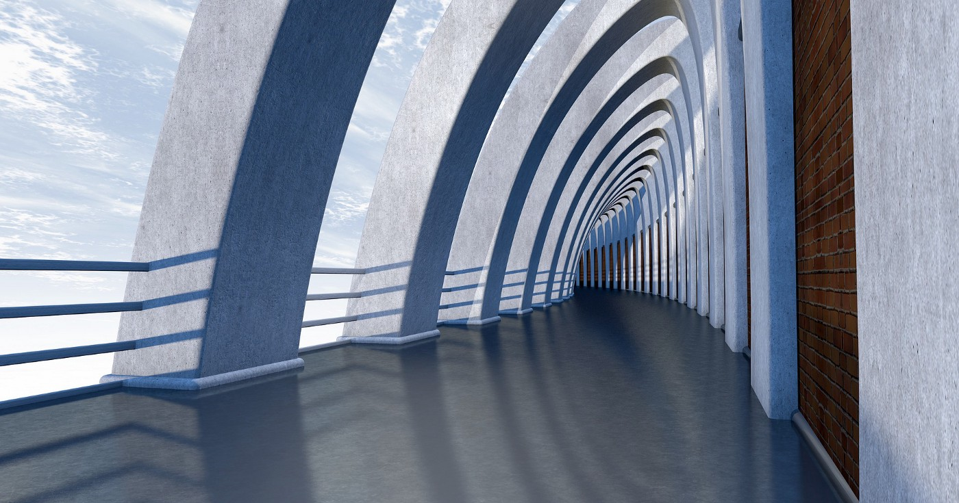 A futuristic looking walkway with pillars that clouds show through