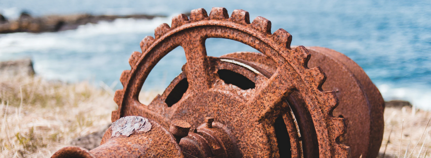 Rusty gear on yellowing grass with an ocean backdrop.
