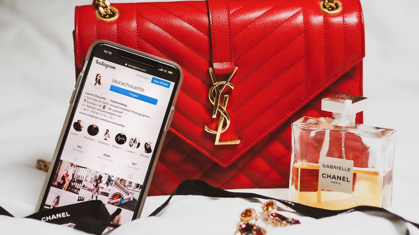 YSL purse, Chanel perfume and Instagram page