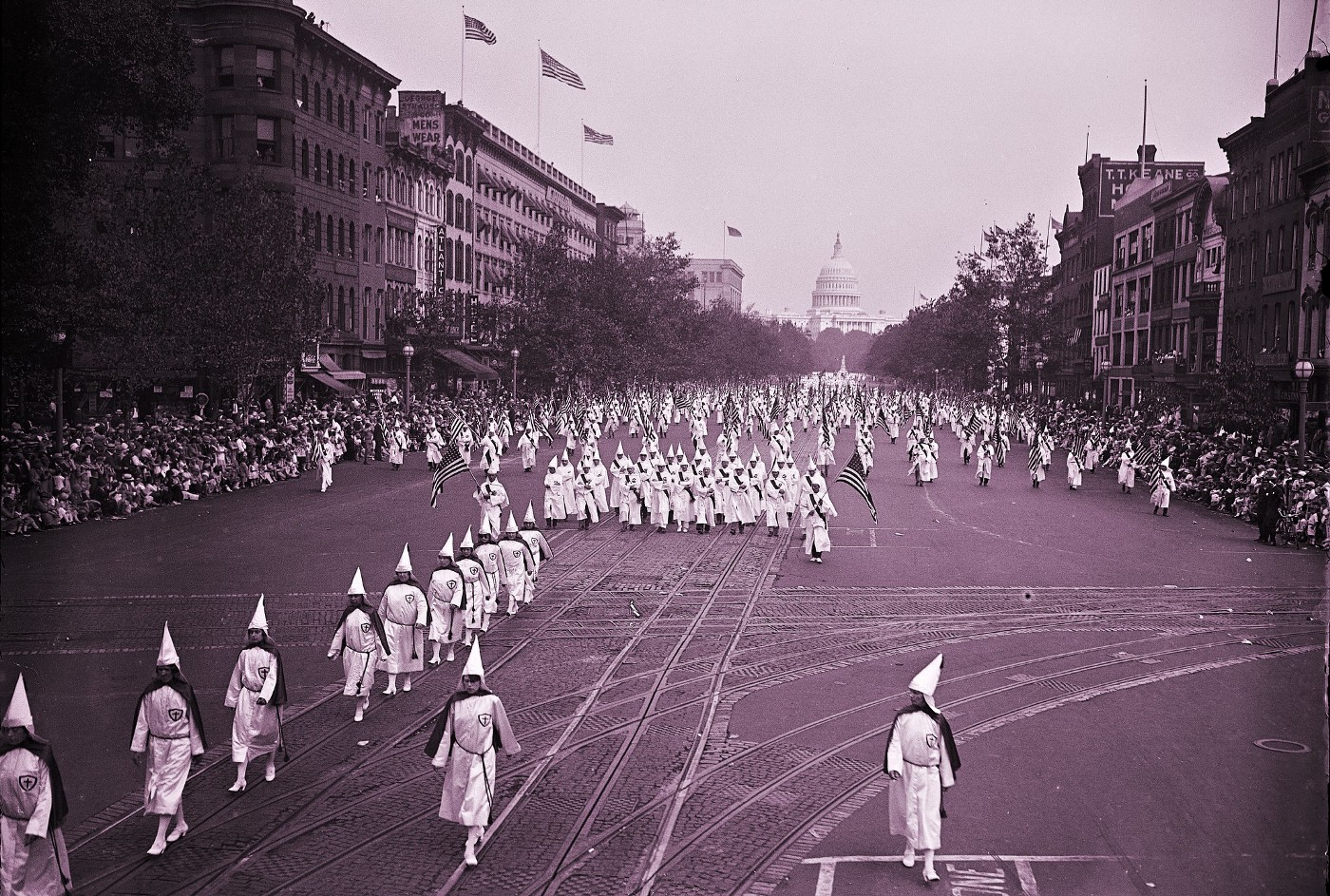KKK Marching in White Hoods in the USA 1926, white supremacy, hate, racism, white rage, inequality, injustice, racist, race