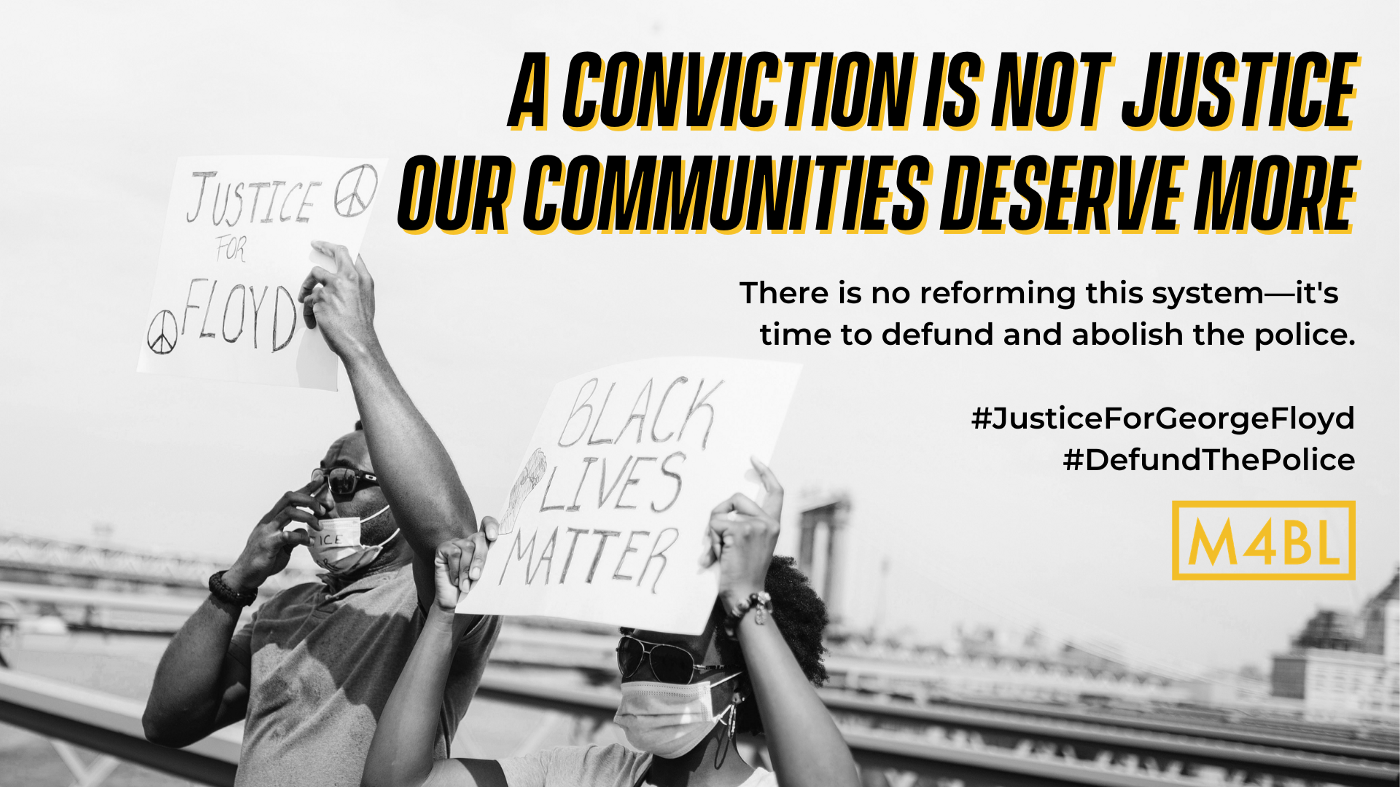 Text reads 'A conviction is not justice. Our communities deserve more.' Images are of Black people holding protest signs.