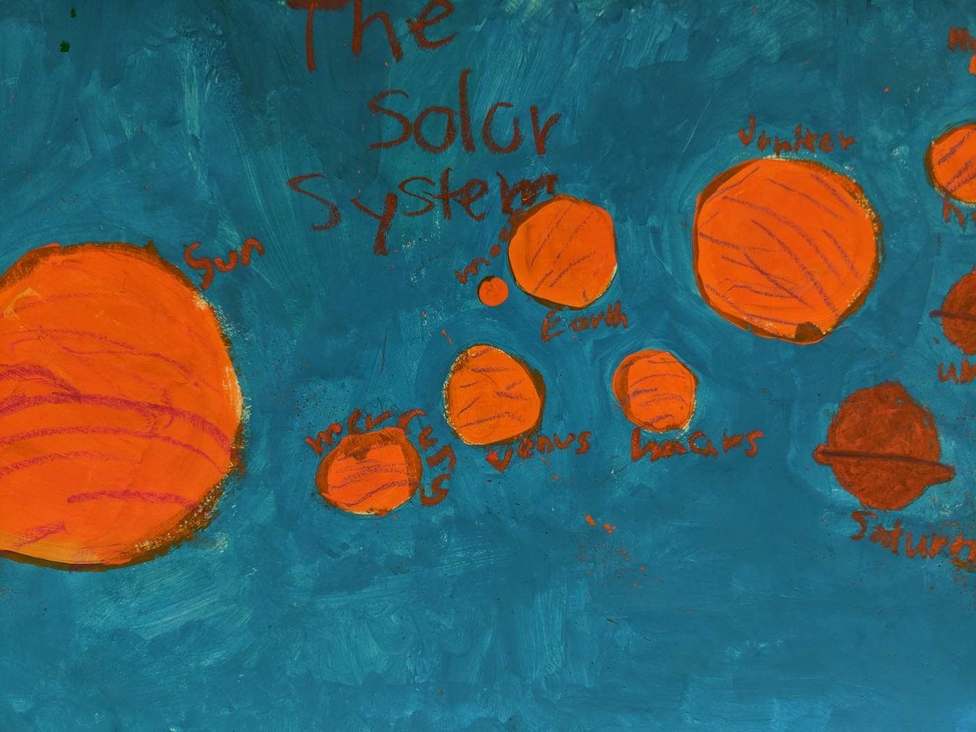 A child's painting of a solar system.