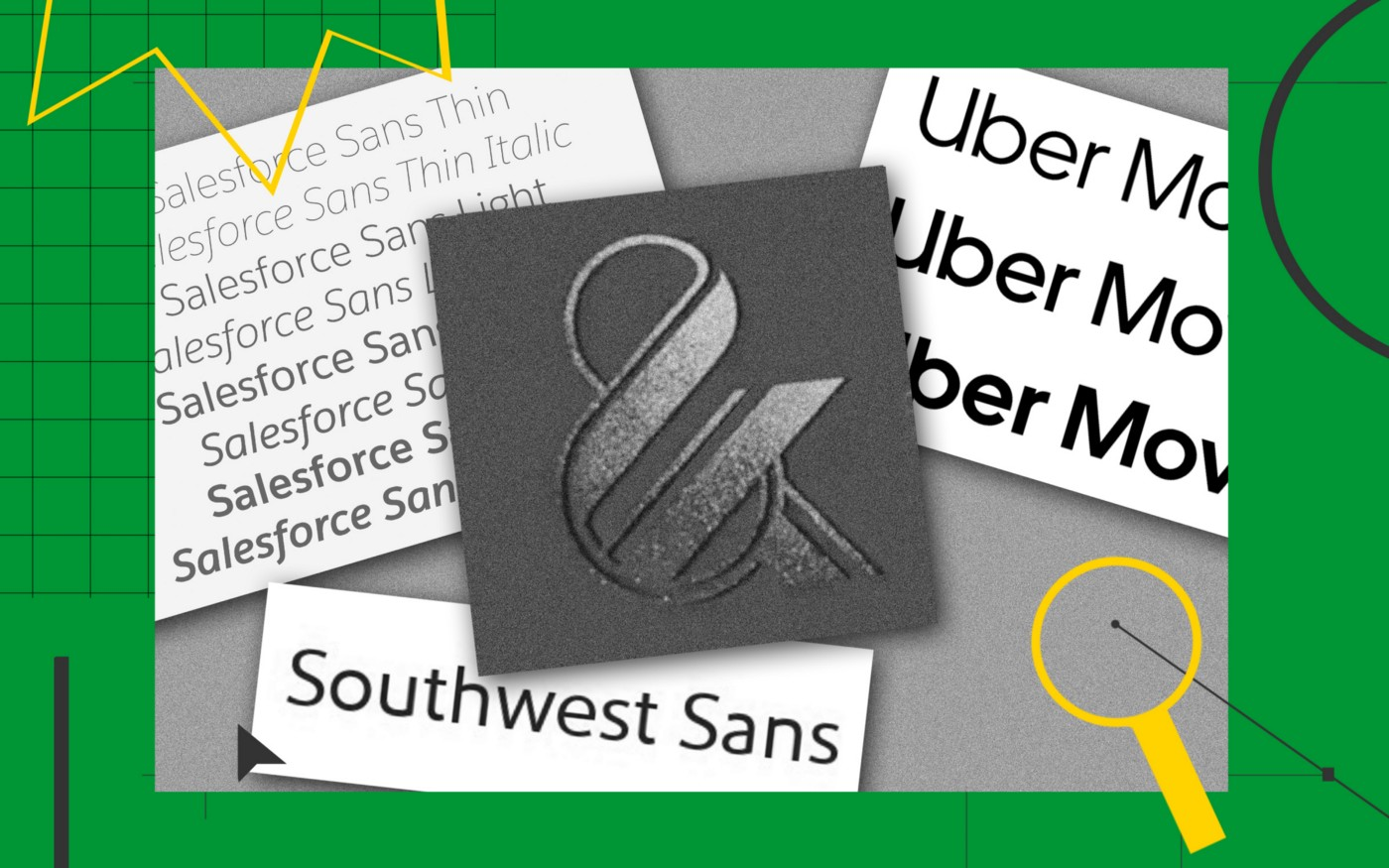 """A collage of different images with various brand custom fonts like """"Salesforce Sans,"""" """"Southwest Sans,"""" and """"Uber Moves."""""""