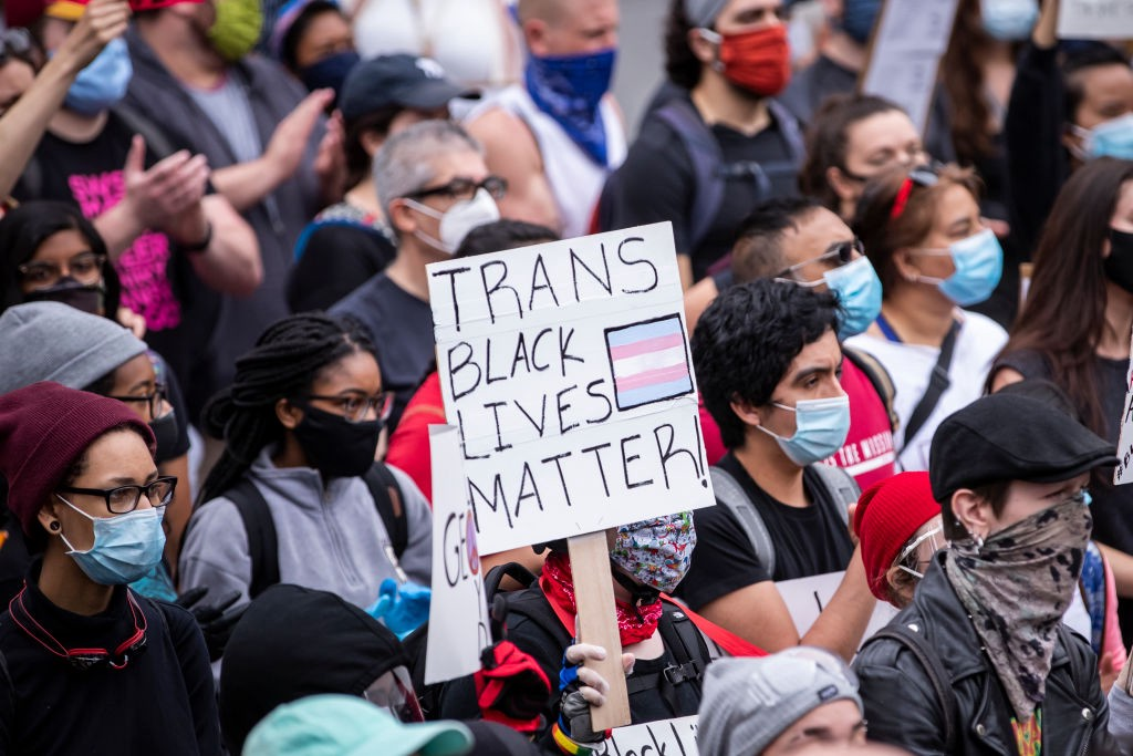 "A protestor in a crowd holds up a sign that says ""TRANS BLACK LIVES MATTER."""