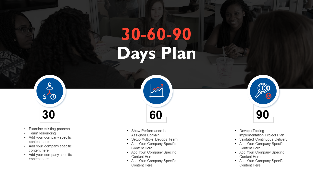 30 60 90 Day PPT Diagram Template