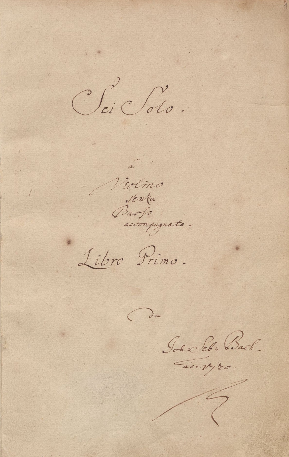the title page of Bach's Sonatas and Partitas for unaccompanied violin