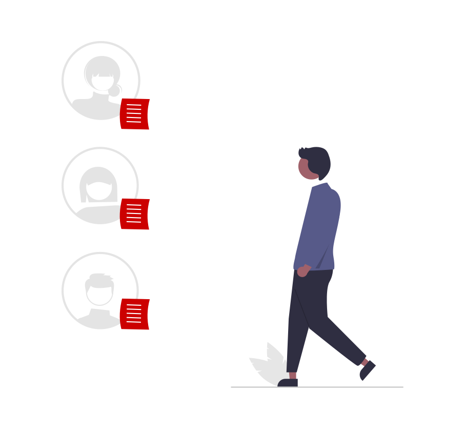Person, walking towards 3 circles that contain the head of others, plus red paper with lines, representing feedback.