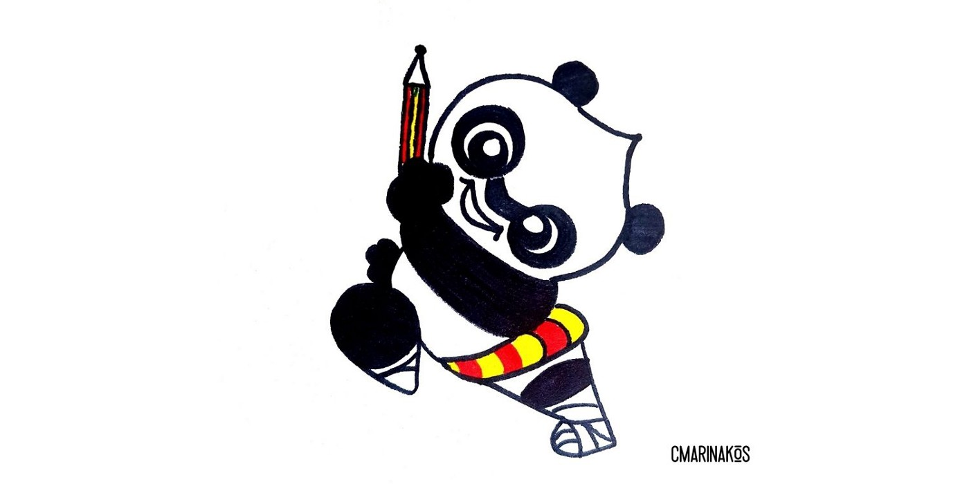 Illustration of a black and white panda holding a pencil with one leg up and arm up, looking like he's about to run fast.