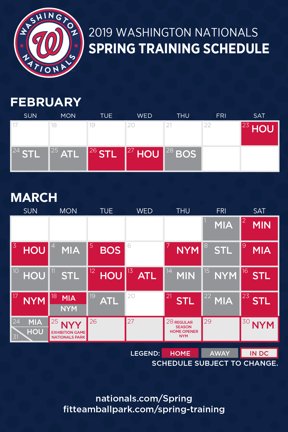 Washington Nationals 2019 Schedule Nationals announce 2019 Spring Training Schedule   Curly W Live