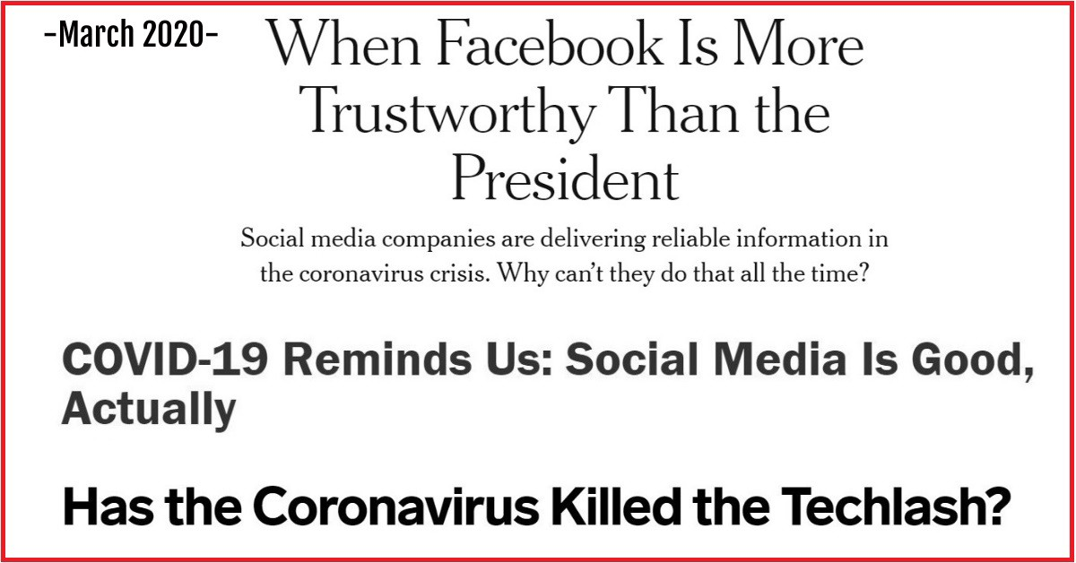 March 2020: When Facebook is more trustworthy than the president. Covid-19 reminds us Social media is good actually. Has the Coronavirus killed the Techlash. Created by Dr. Nirit Weiss-Blatt, PhD, July 2021.