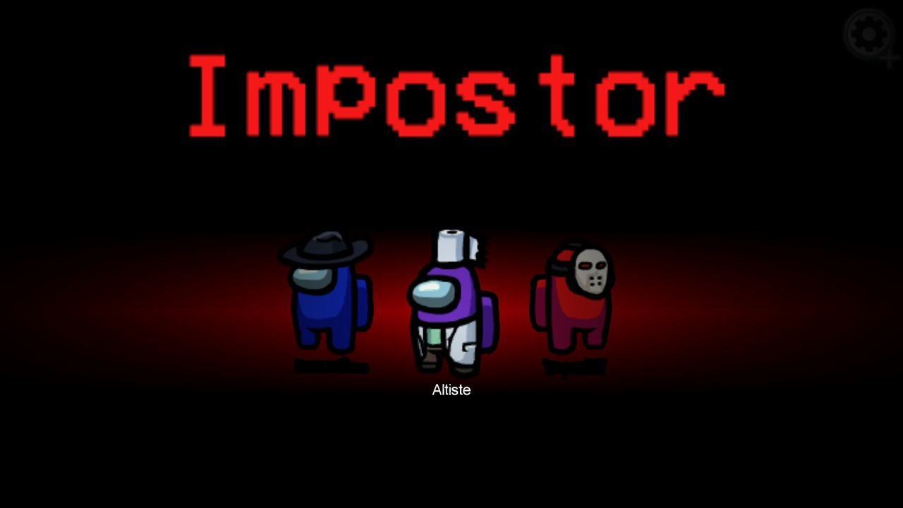 Screenshot of in-game footage of Among Us. This is the opening screen that shows the player which role they are. The Author, who uses the nickname Altiste and the colour purple in the game, is an imposter along with two other players who are blue and red.