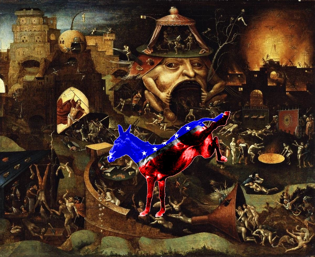 A vision of Hell from Hieronymus Bosch's 'Garden of Earthly Delights,' with a superimposed kicking donkey in red, white and blue livery with white stars, in the style of the Democratic Party mascot.