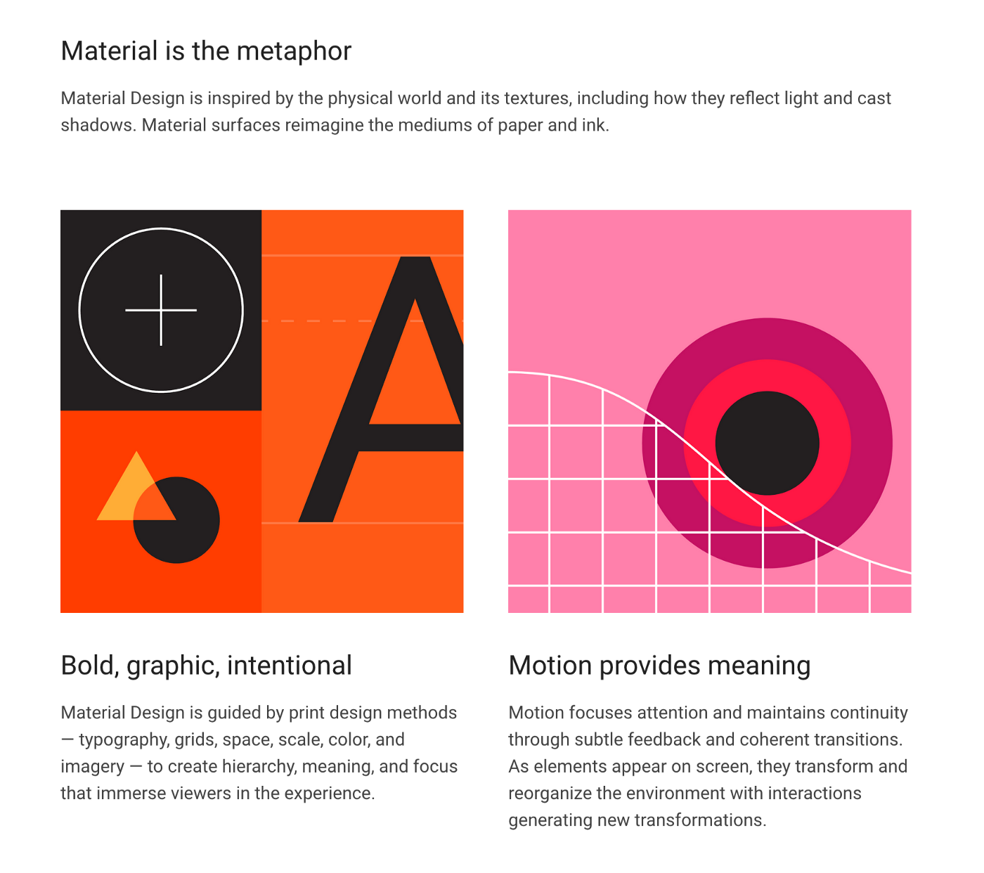 Preview of the Google Material Design website