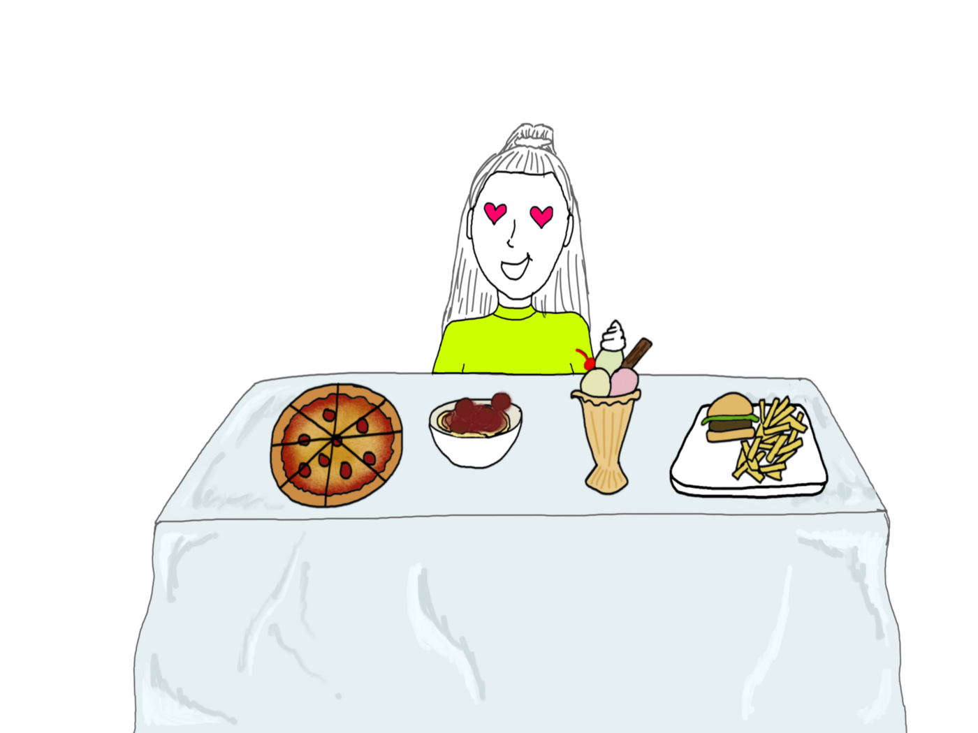 Girl staring at table to food