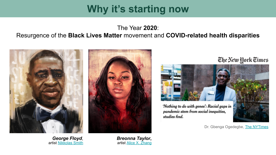 Artwork ofGeorge Floyd and Breonna Taylor. A screenshot of a NYTimes headline about COVID-related health disparities.