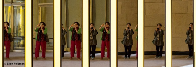 Photo shows a collection of photos of two women in a mirror—the series evolves so show one woman becoming another. Source: Ellen Feldman