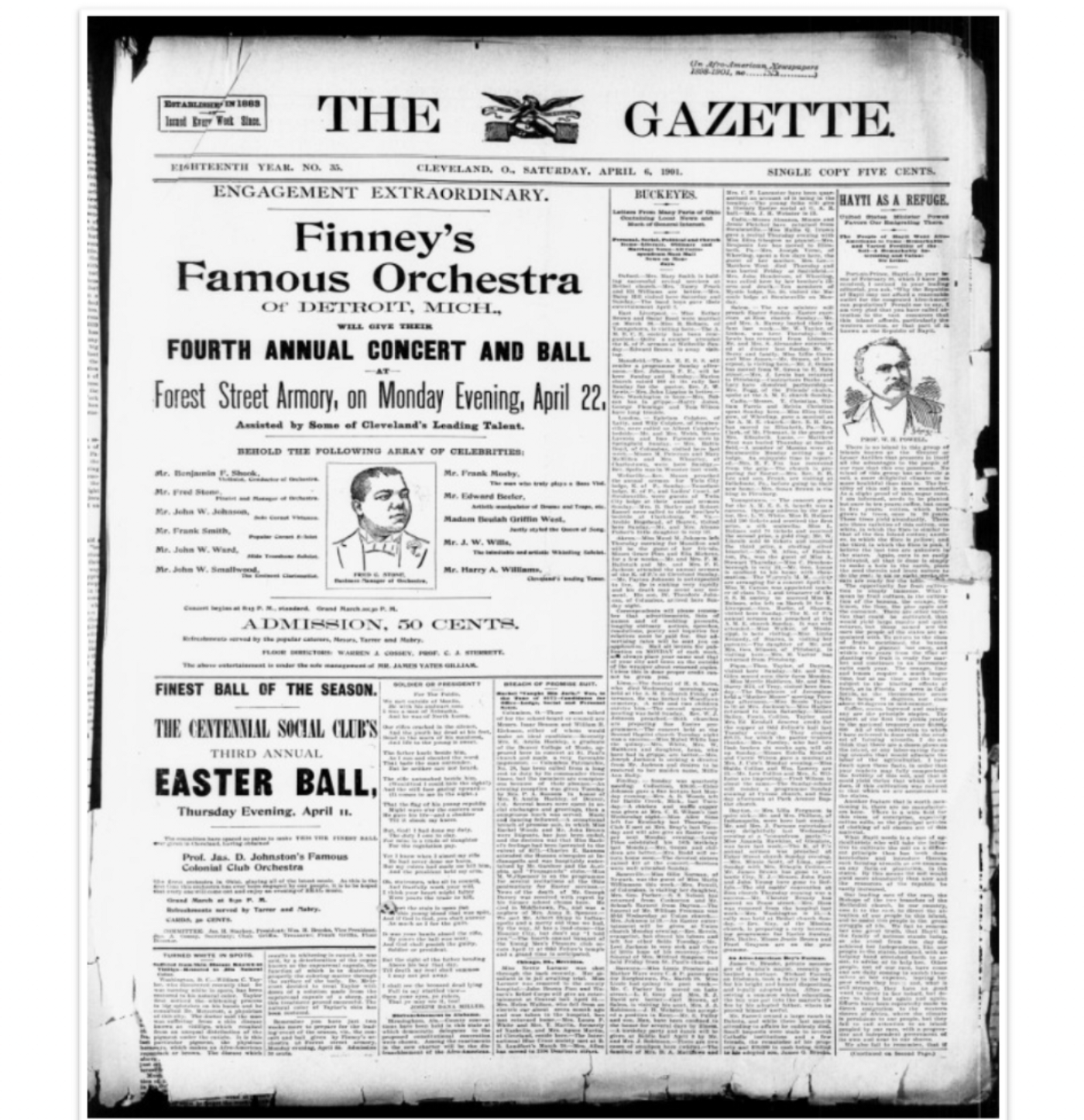 Front page of Cleveland Gazette from Saturday, April 6, 1901