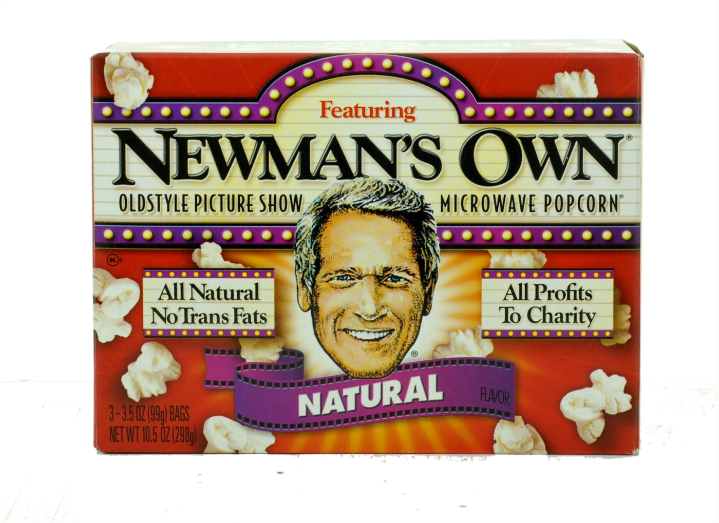 The packaging of Newman's Own's microwave popcorn