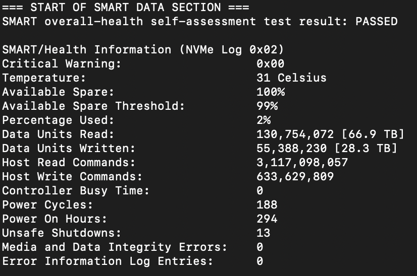 SMART data readout for a MacBook Pro with 8GB ram and 256GB SSD storage.