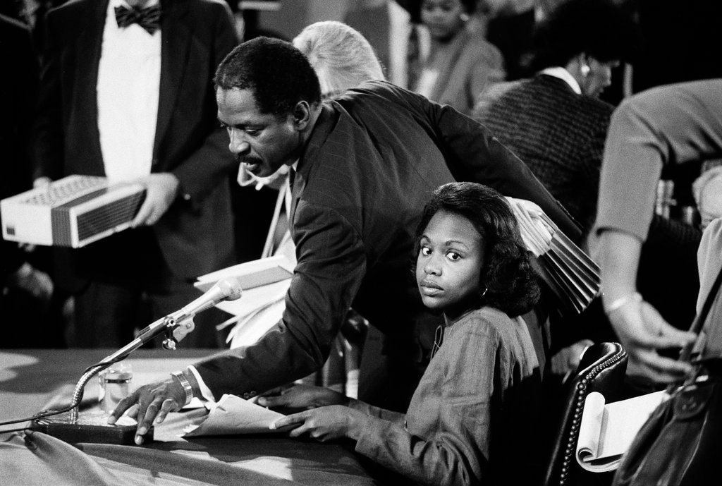 Anita Hill during her testimony in front of the Senate Judiciary Committee in 1991.Credit…Paul Hosefros/The New York Times