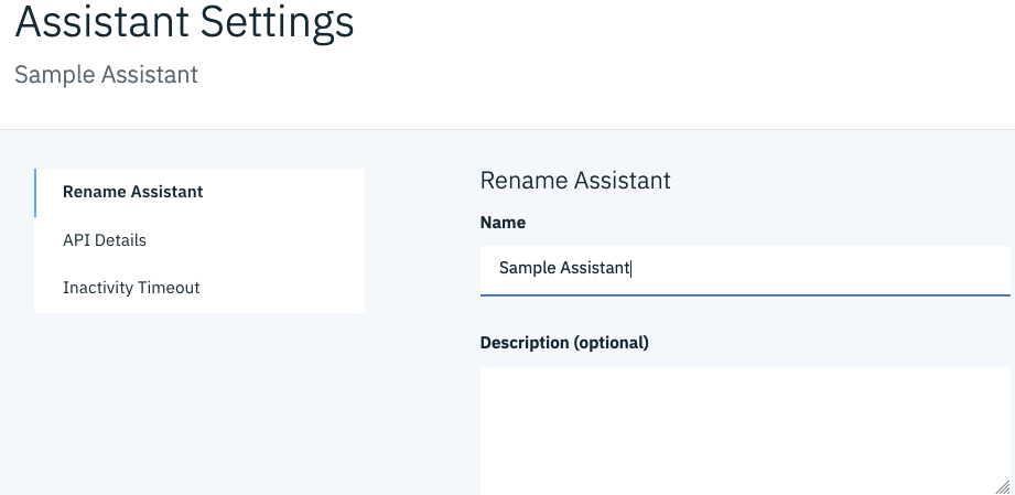 Check the API Details on the settings screen for the Assistant ID