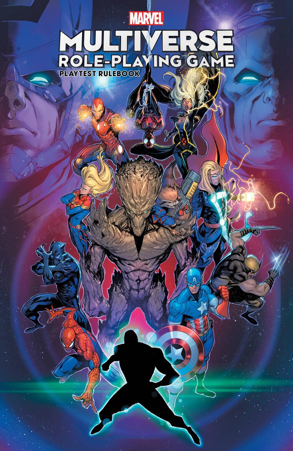 The cover of the Marvel Multiverse Role-playing Game Playtest Rulebook. The image shows, from top right to bottom left, Iron Man, Spider-Man (Miles Morales), Storm, Captain Marvel, Groot, Rocket, Thor, Black Panther, Wolverine, Captain America, Spider-Man (Peter Parker) and an unnamed character that looks like a void to be filled in. It might represent the original character the player can introduce to the Marvel universe. The faces of Galactus and Kang the Conqueror are in the background.