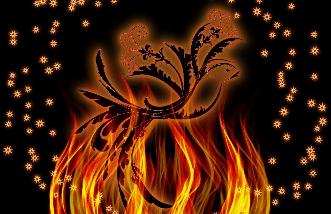 phoenix bird silhouette rising from flames underneath against a black background with tiny orange stars