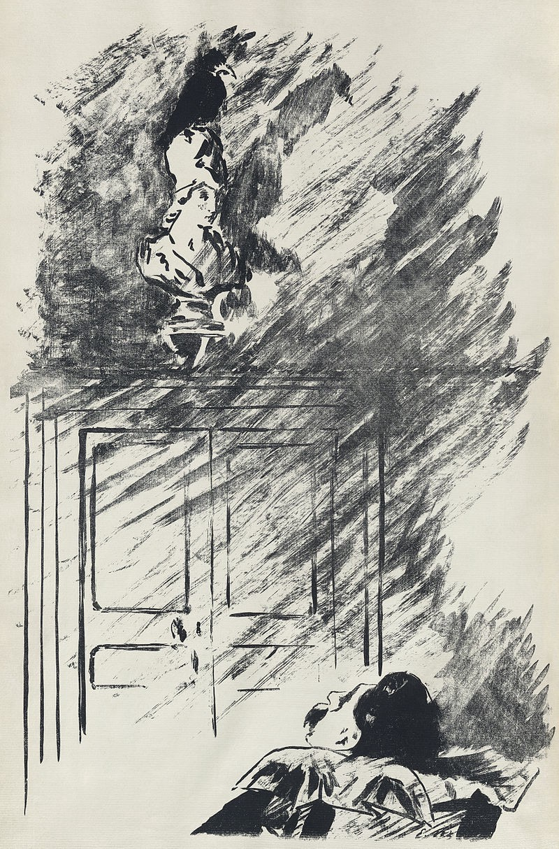 Edgar Allen Poe, The Raven, Illustration by French impressionist Édouard Manet