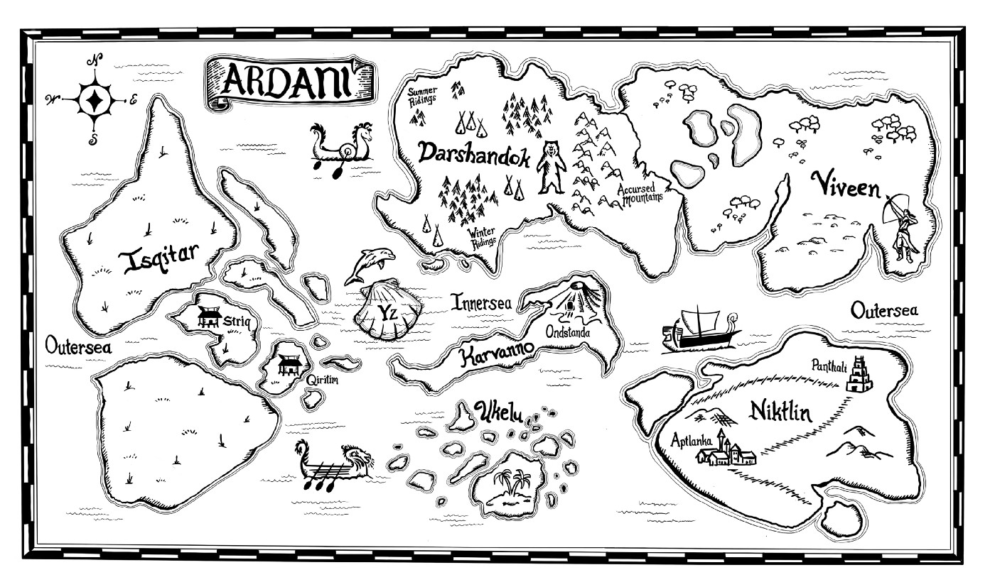 A hand-drawn map of the imaginary planet, Ardani.