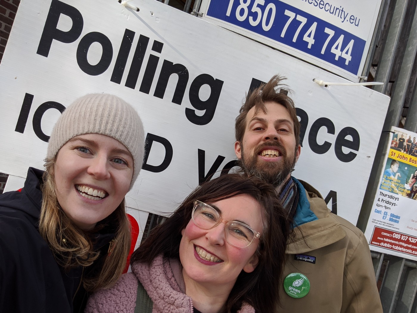 A polling day selfie with my neighbours, February 2020