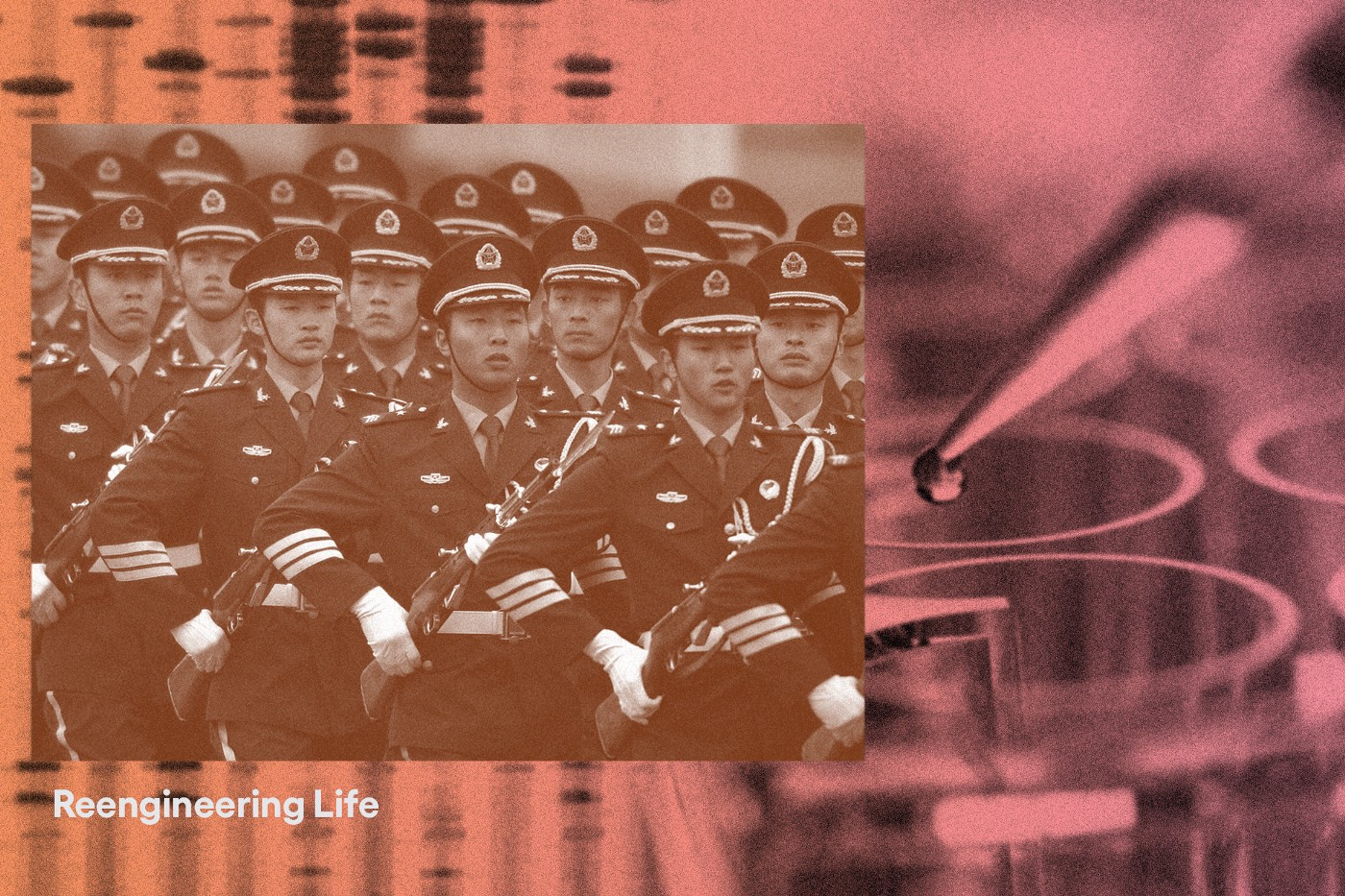 A photo of Chinese soldiers juxtaposed against photos of a DNA strip and a dropper with the text Reengineering Life