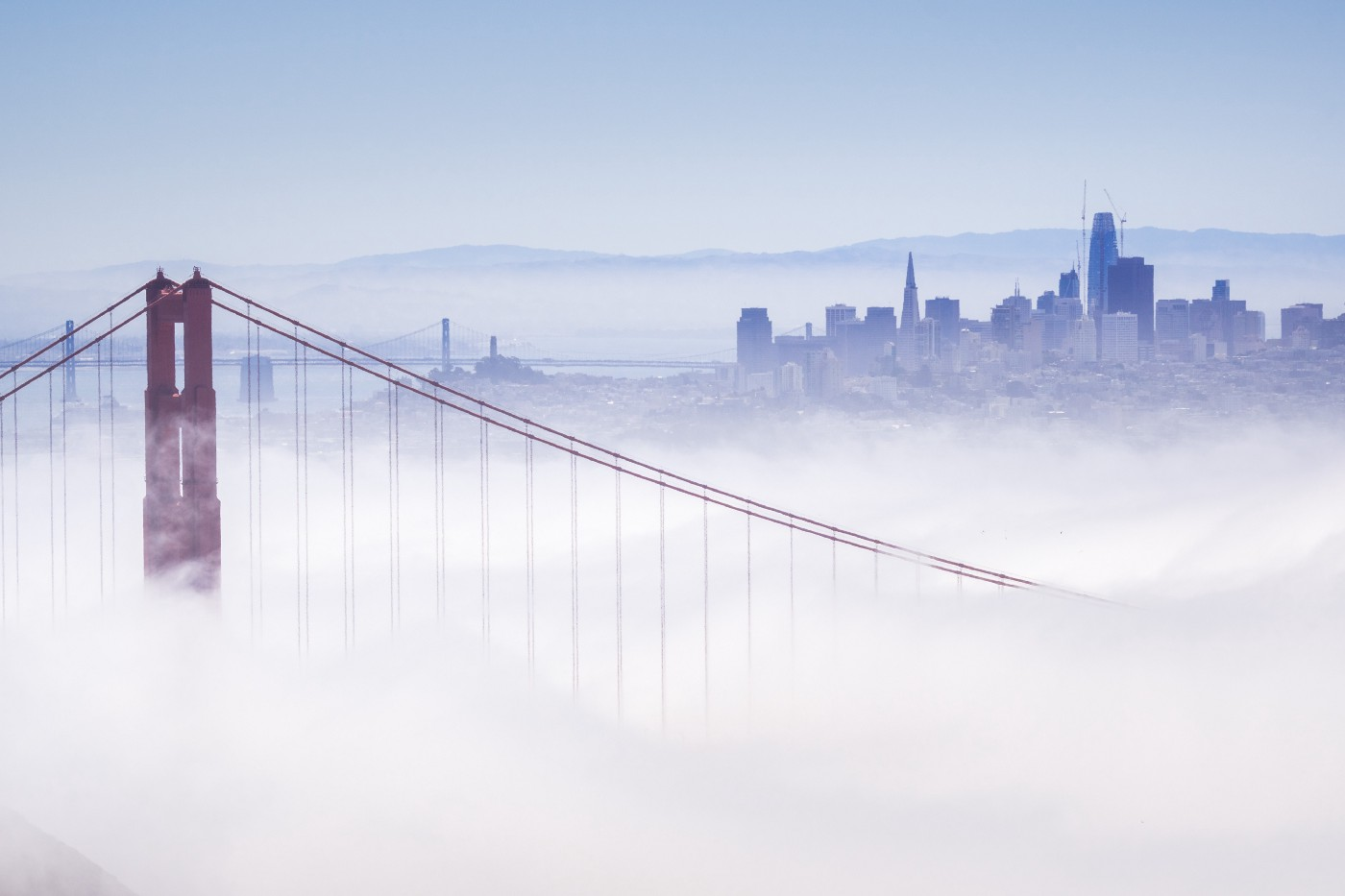 Photo of fog overflowing the Golden Gate Bridge and invading the city. You can see one tower of the bridge in muted red, with cables sweeping down and away from it, artistically, and disappearing into the fluffy white. In the background is the bluish charcoal grey skyline of San Francisco. The sky is a dull blue getting ready for twilight. You might think of the fog as a blanket, but it's chilly rather than cozy.