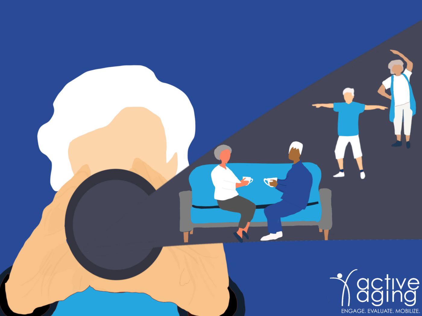 An older adult woman sees older adult's physical and social health through her own lens