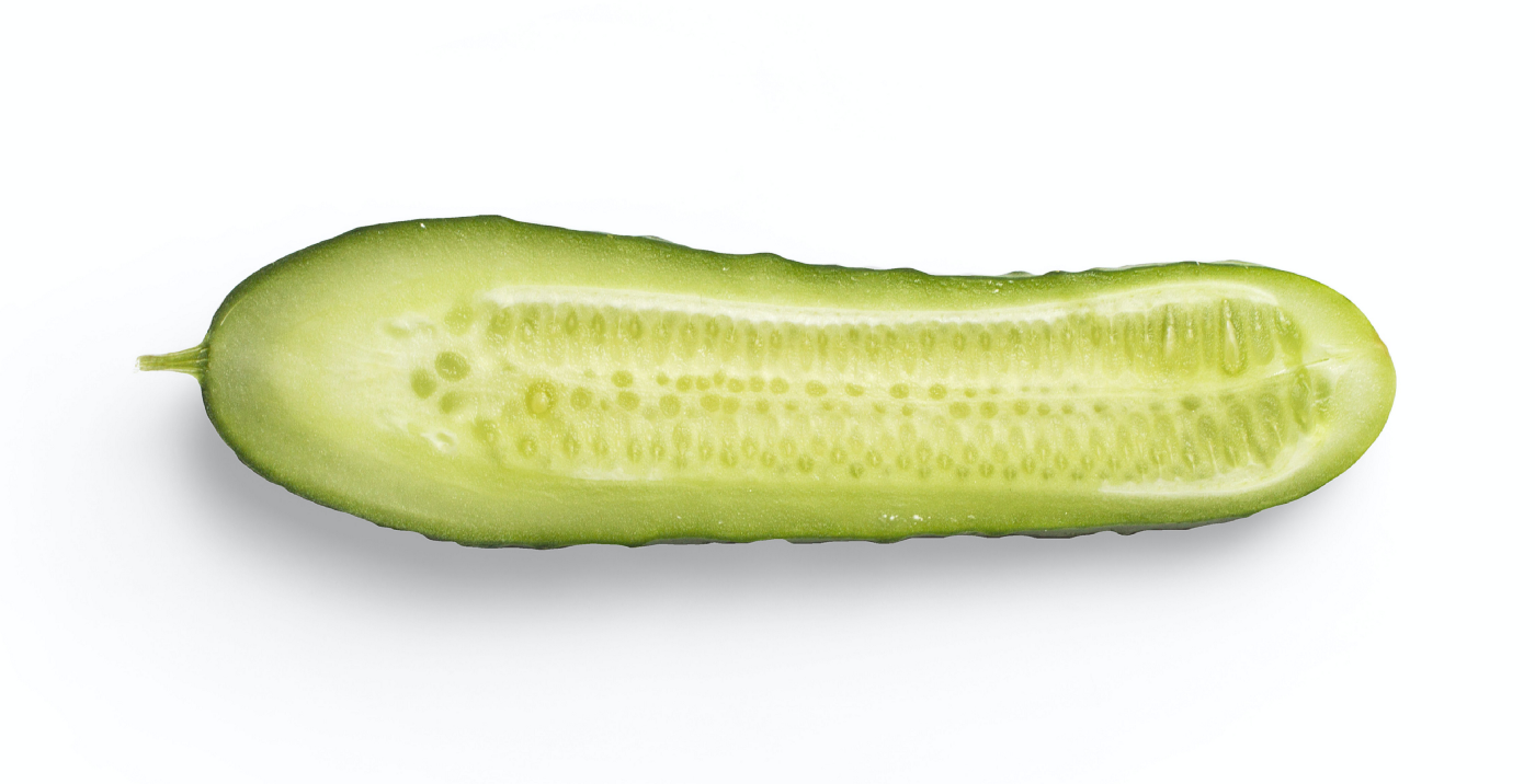 Half cucumber on a white background