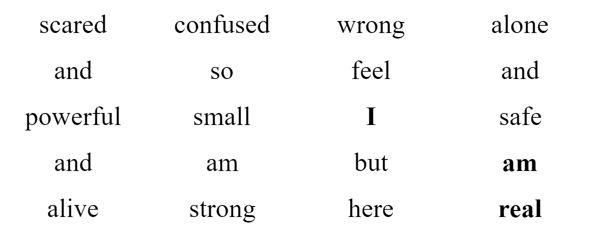 Grid of the words in the poem that can be read in any order