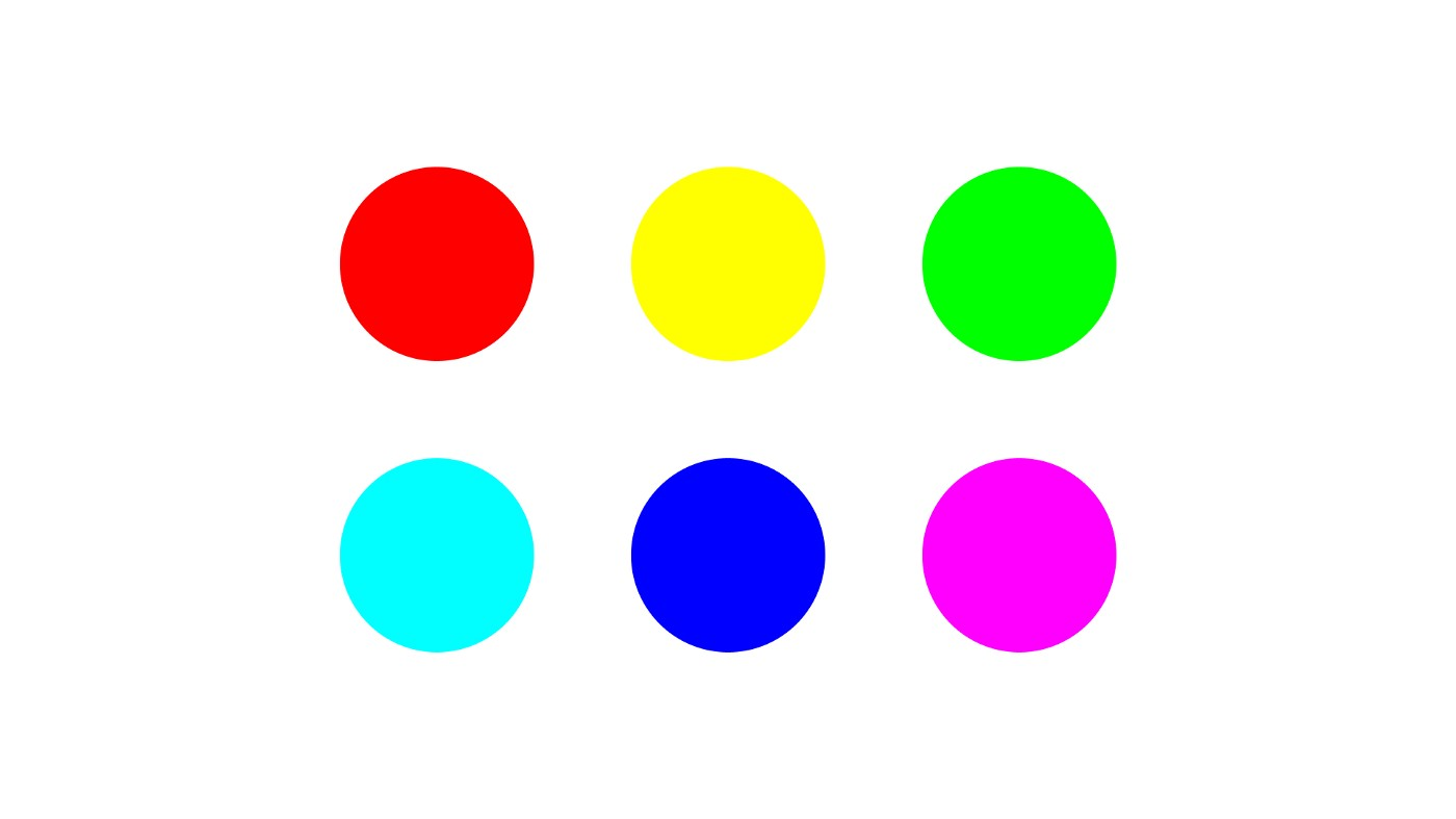 A palette of 6 colors: Red, Yellow, Green, Cyan, Blue and Magenta