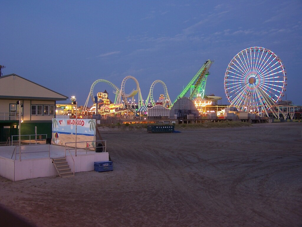 Wildwood, NJ Boardwalk at sundown.