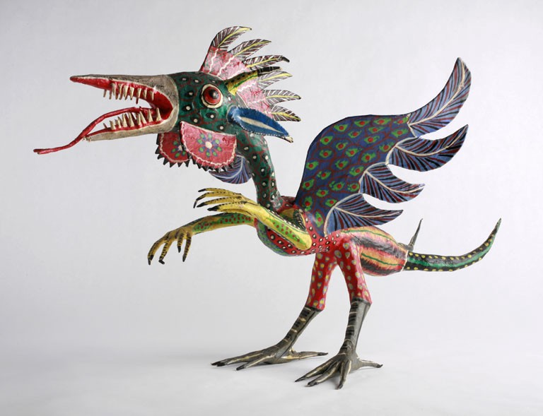 Alebrijes are brightly colored Mexican folk art sculptures of fantastical creatures.