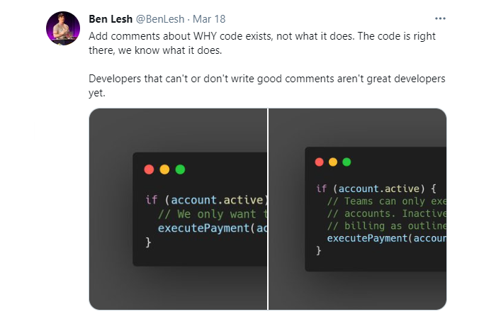 Add comments about WHY code exists, not what it does. The code is right there, we know what it does.