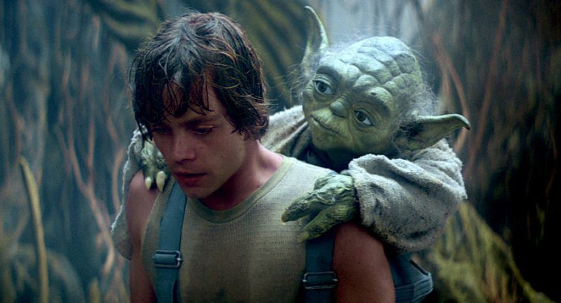 Luke Skywalker training with Master Yoda from the film The Empire Strikes Back(1980).
