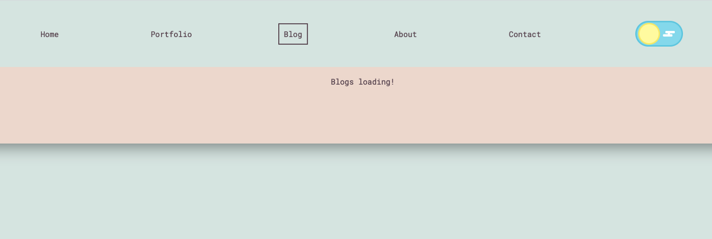 """A screenshot of abbeyperini.dev, with a nav bar on a light blue background, the blog button is highlighted by a border, and text on a peach background saying """"Blogs loading!"""""""