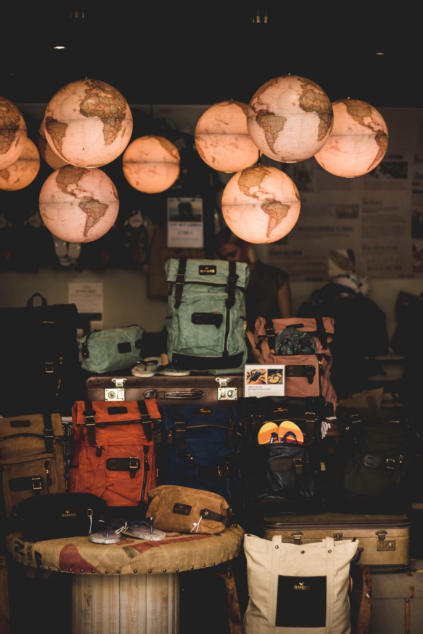 A bunch of suitcases on display