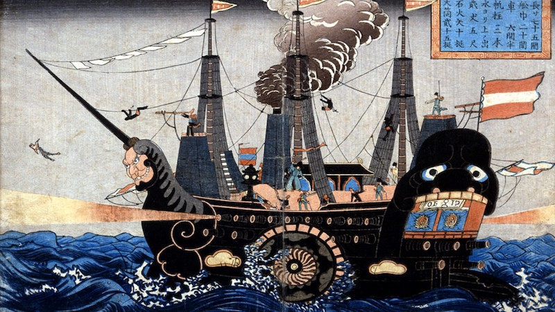 An artist's rendition of Commodore Matthew C. Perry's black ships sailing into Tokyo Bay