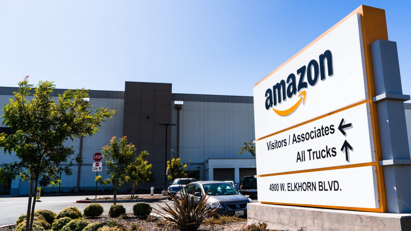 An Amazon Fulfillment Center sign and building located in Sacramento, CA.