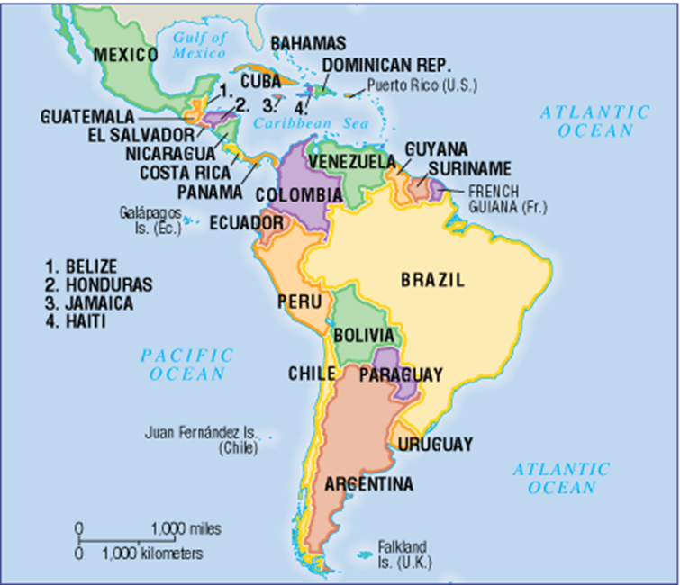 Map Of South America Jamaica.Women In Latin American Politics Economy And War Madison
