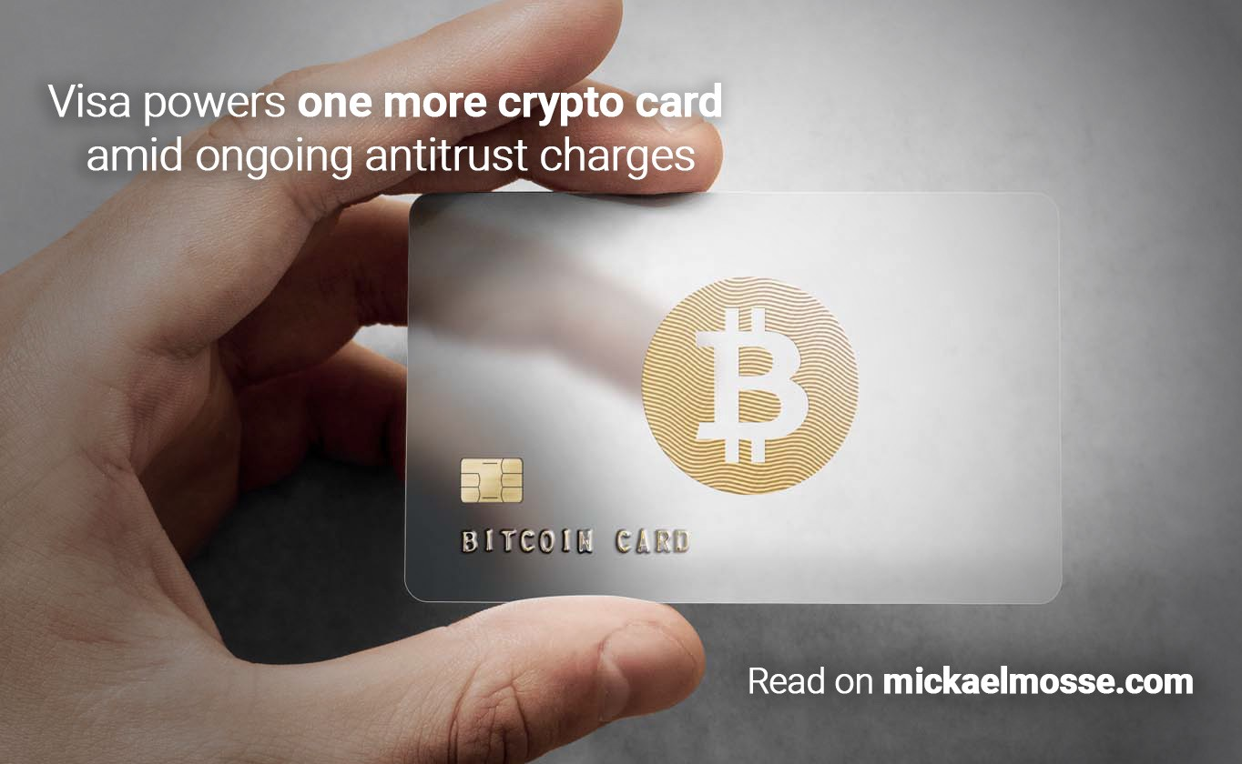 Hand holding Bitcoin card. Title: Visa powers one more crypto card, by Mickael Mosse